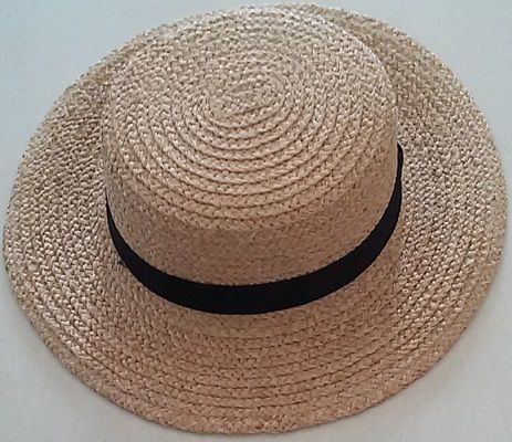 Beige Straw Boater Hat