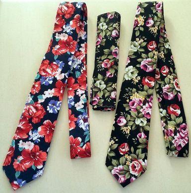 Cotton Floral Tie Pocket Square Set