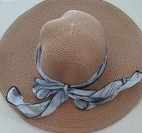 Womens Beige Straw Floppy Sun Hat