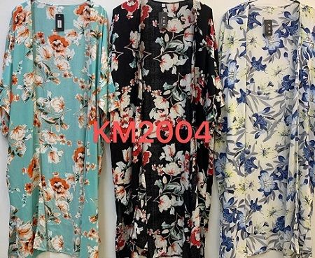 Green Floral Summer Kimono Gown